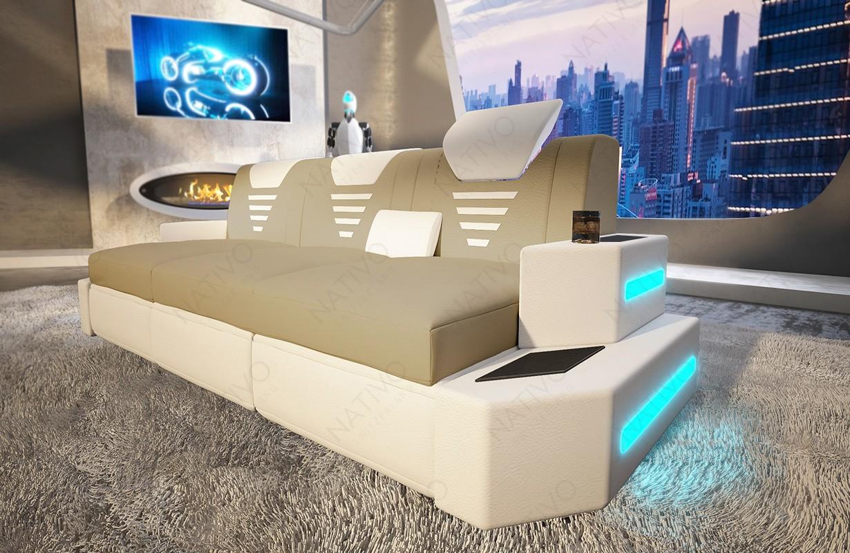 Divano di design a 3 posti  NEMESIS con illuminazione a LED e presa USB