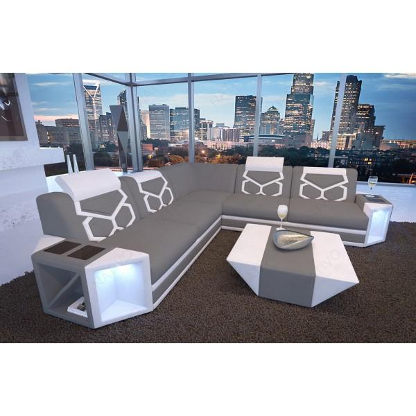 Divano in pelle a 2 posti ROYAL con illuminazione a LED e presa USB NATIVO mobili Italia