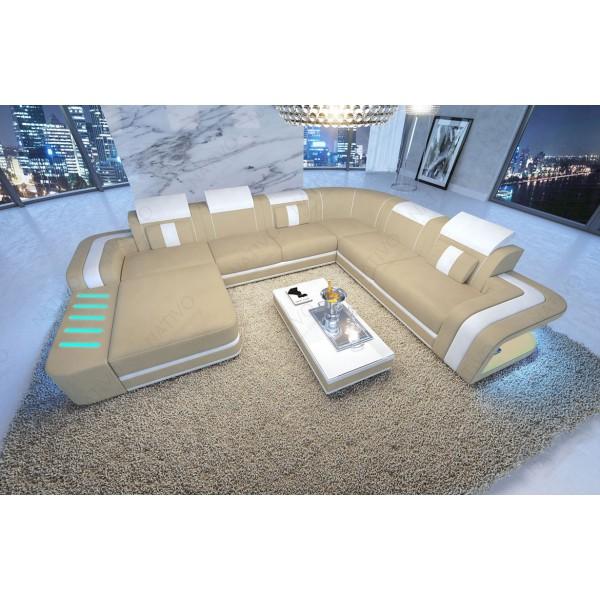Divano in pelle a 2 posti ATLANTIS con illuminazione a LED NATIVO mobili Italia