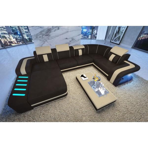 Divano di design a 3 posti ROYAL con illuminazione a LED e presa USB