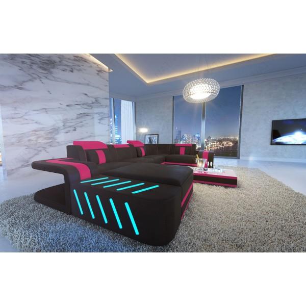 Divano in pelle a 3 posti ROYAL con illuminazione a LED e presa USB NATIVO mobili Italia