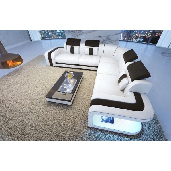 Divano in pelle a 3 posti CLERMONT con illuminazione a LED NATIVO mobili Italia