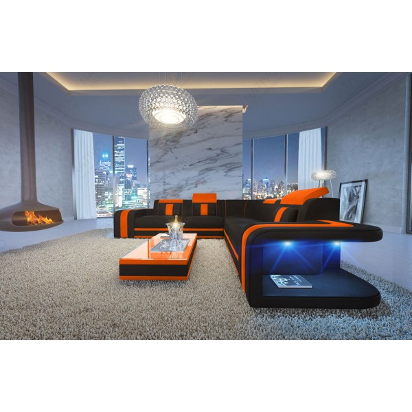 Divano in pelle a 3 posti HERMES con illuminazione a LED NATIVO mobili Italia