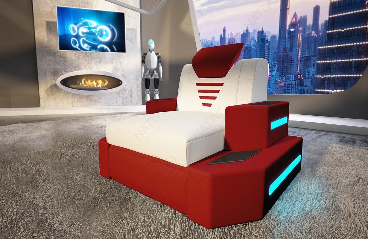 Poltrona di design NEMESIS con illuminazione a LED e presa USB