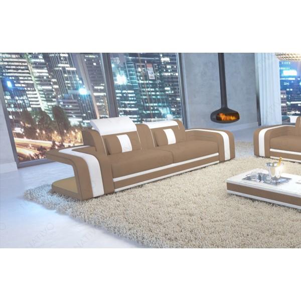 Divano in pelle a 3 posti CAREZZA con illuminazione a LED NATIVO mobili Italia