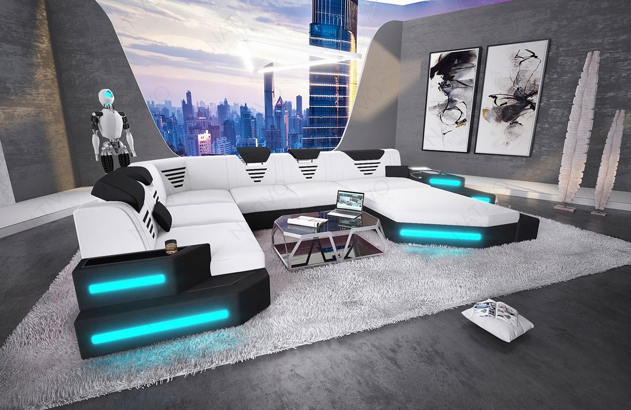 Divano di design NEMESIS XXL con illuminazione a LED e presa USB