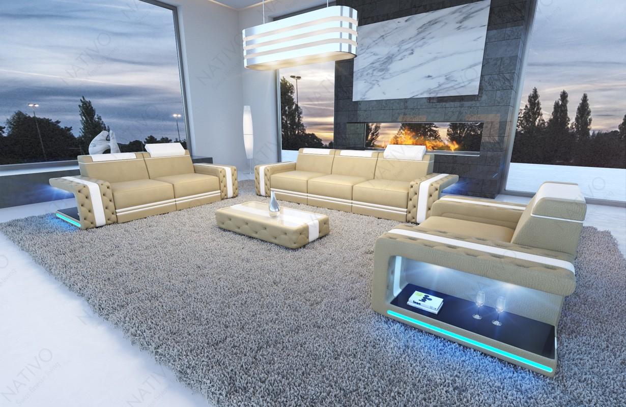 Divano di design IMPERIAL 3+2+1 con illuminazione a LED