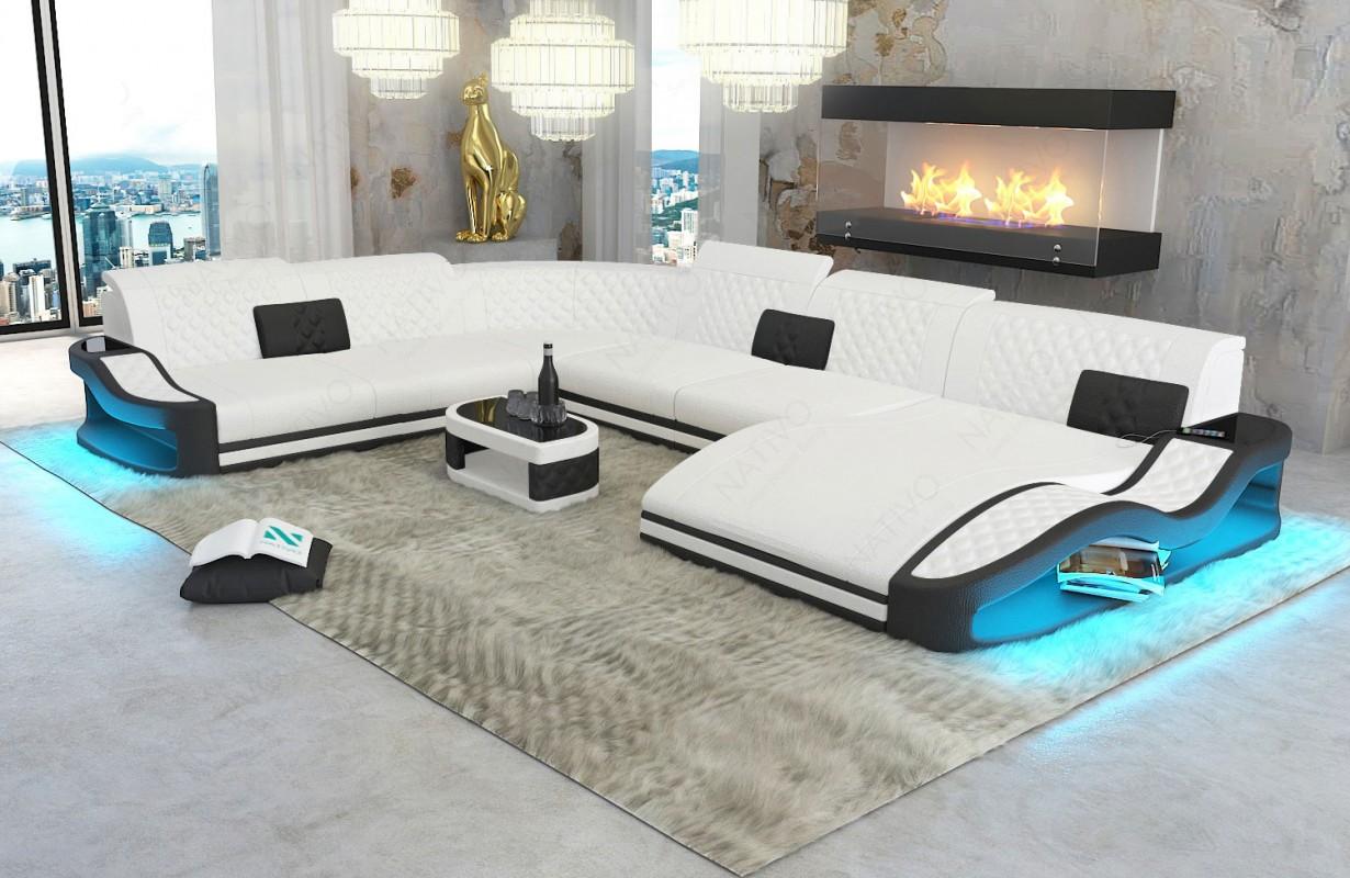 Divano di design DIABLO XXL con illuminazione a LED e presa USB