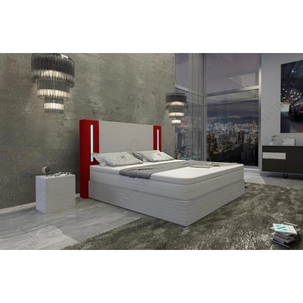Letto Boxspring FRANKFURT in tessuto con Topper e presa USB NATIVO mobili Italia