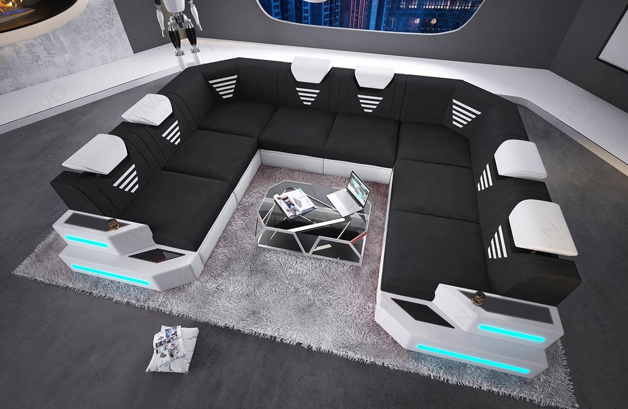 Divano di design NEMESIS CORNER U FORM con illuminazione a LED e presa USB