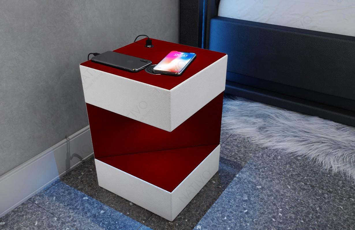 Comodino di design COSMOS con presa USB e Caricabatterie wireless