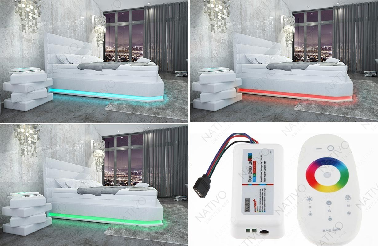 Letto imbottito MOON con illuminazione a LED NATIVO mobili Italia